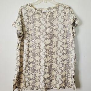Lularoe/Leah Snake Print Tunic Tee